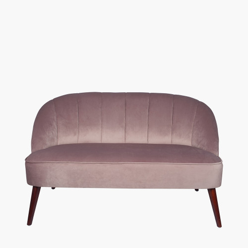 Blush Pink Velvet Sofa with Walnut Effect Legs