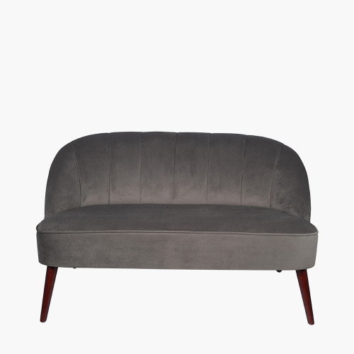 Dove Grey Velvet Sofa with Walnut Effect Legs
