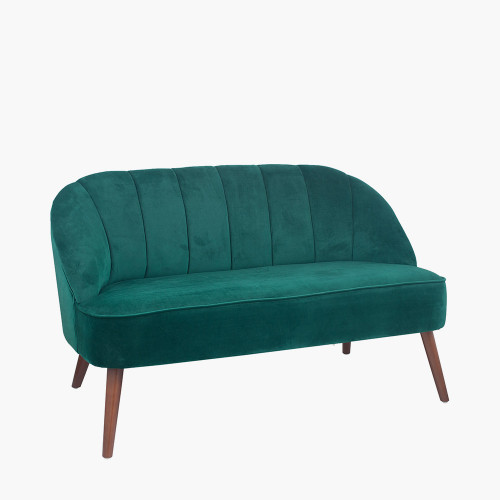 Forest Green Velvet Sofa with Walnut Effect Legs