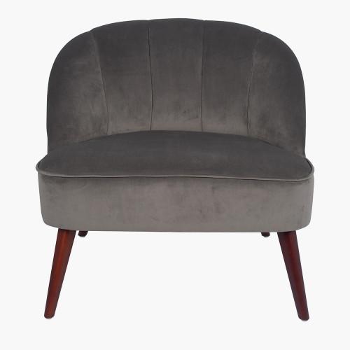 Dove Grey Velvet Chair with Walnut Effect Legs