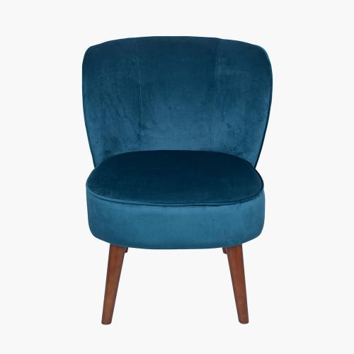 Sapphire Blue Velvet Chair with Walnut Effect Legs