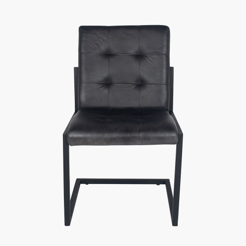 Steel Grey Leather & Iron Buttoned Chair