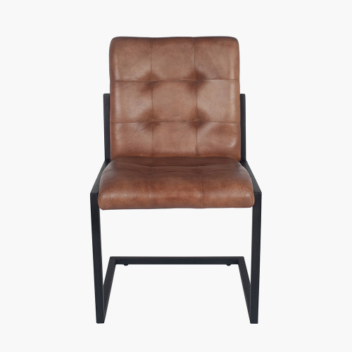 Vintage Brown Leather & Iron Buttoned Chair
