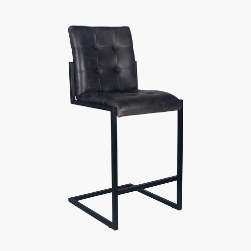 Steel Grey Leather & Iron Buttoned Bar Stool