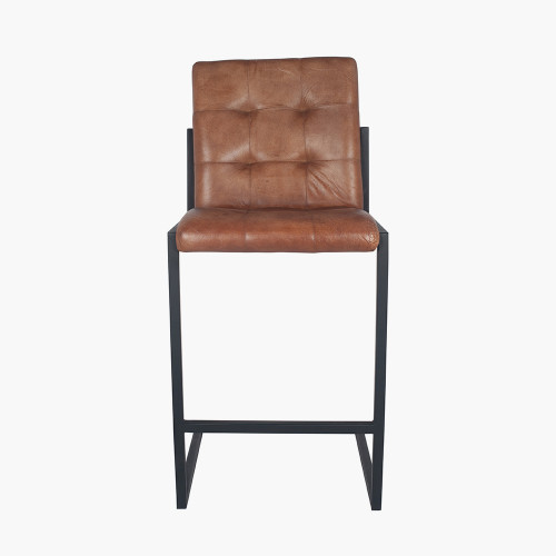 Vintage Brown Leather & Iron Buttoned Bar Stool