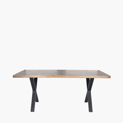 Recycled Wood & Brass Metal Mix Dining Table K/D