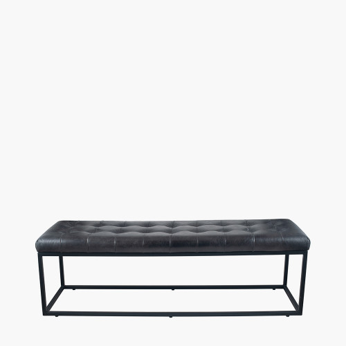 Steel Grey Leather & Iron Buttoned Bench