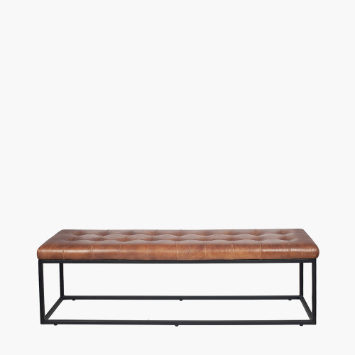 Vintage Brown Leather and Iron Buttoned Bench