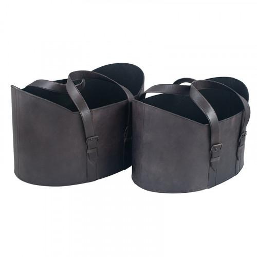 Steel Grey Leather S/2 Handled Storage