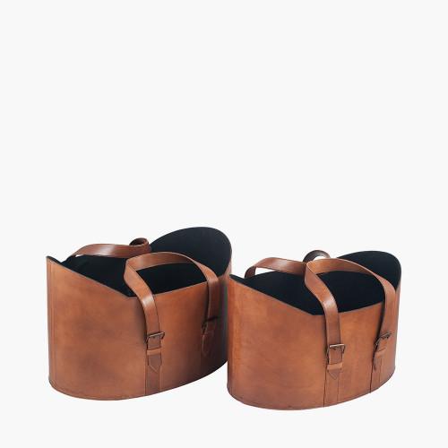 Vintage Brown Leather S/2 Handled Storage