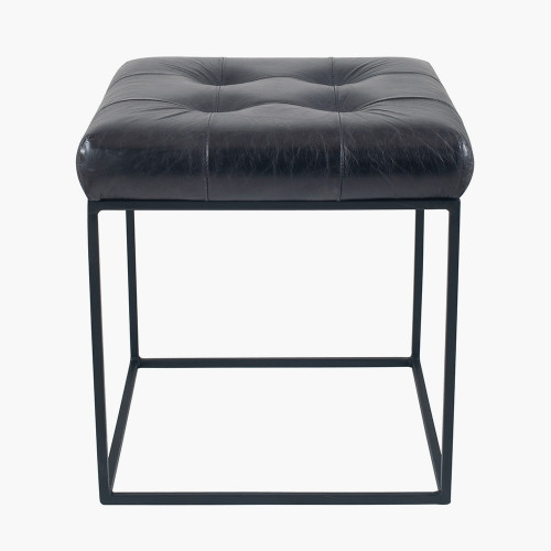 Steel Grey Leather & Iron Buttoned Stool