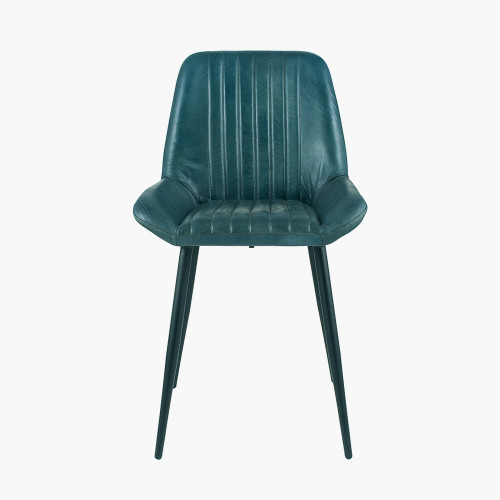 Prussian Blue Leather & Iron Retro Dining Chair