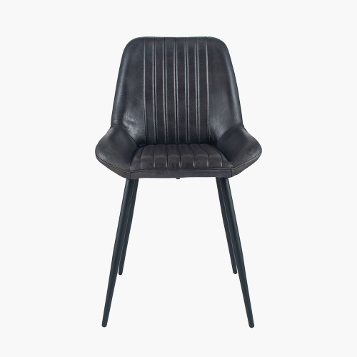 Steel Grey Leather & Iron Retro Dining Chair