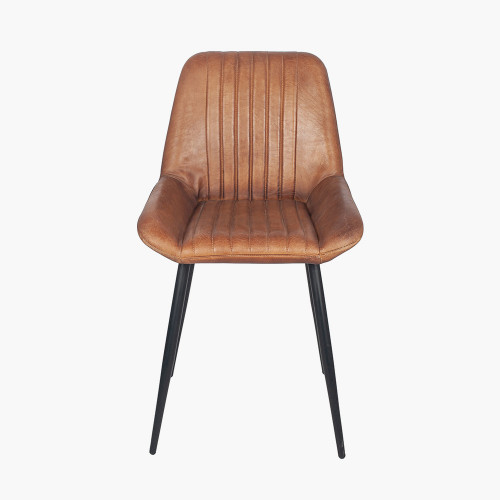 Vintage Brown Leather and Iron Retro Dining Chair