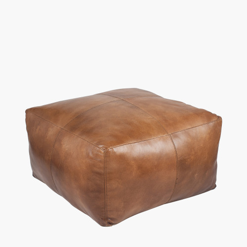 Natural Tan Leather Square Pouffe