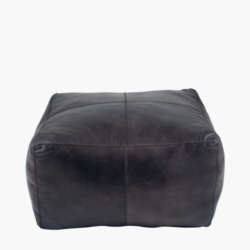 Steel Grey Leather Square Pouffe
