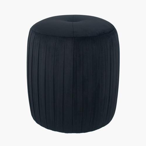 Black Velvet Buttoned Cylinder Pouffe