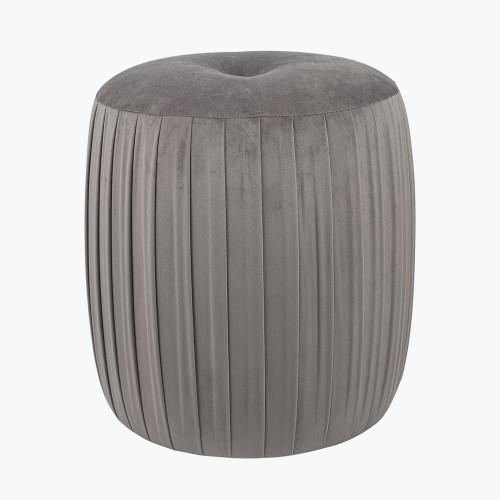 Dove Grey Velvet Buttoned Cylinder Pouffe