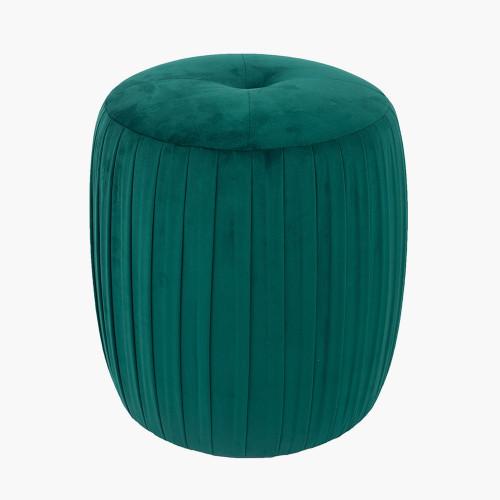 Forest Green Velvet Buttoned Cylinder Pouffe