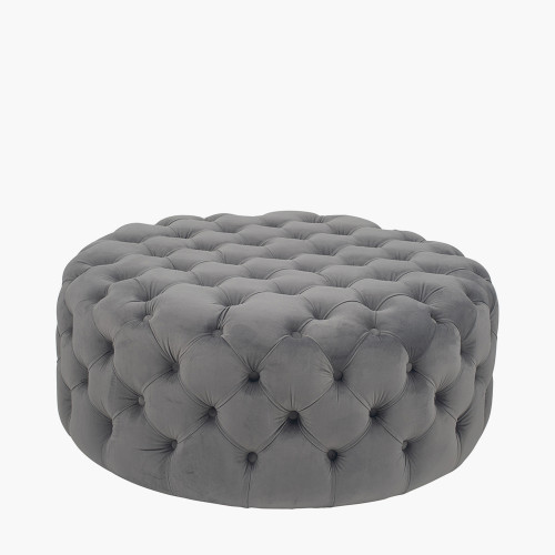 Dove Grey Velvet Round Buttoned Pouffe