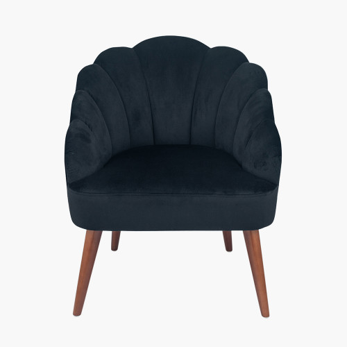 Black Velvet Shell Chair with Walnut Effect Legs
