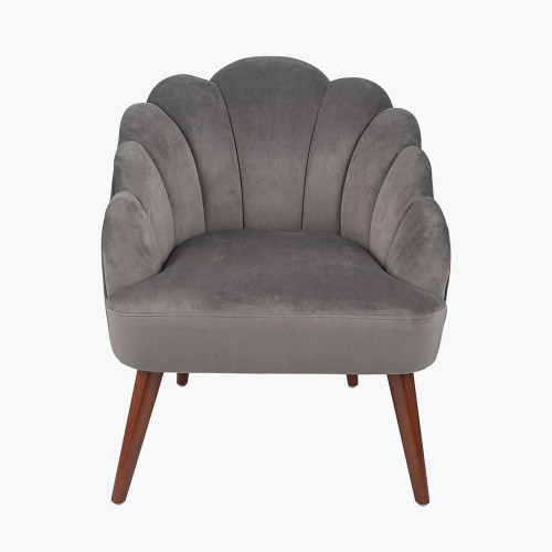 Dove Grey Velvet Shell Chair w/ Walnut Effect Legs