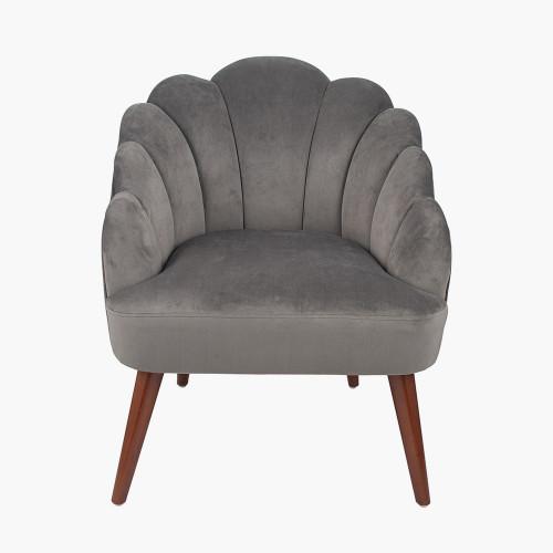 Dove Grey Velvet Shell Chair w/ Walnut Effect Legs
