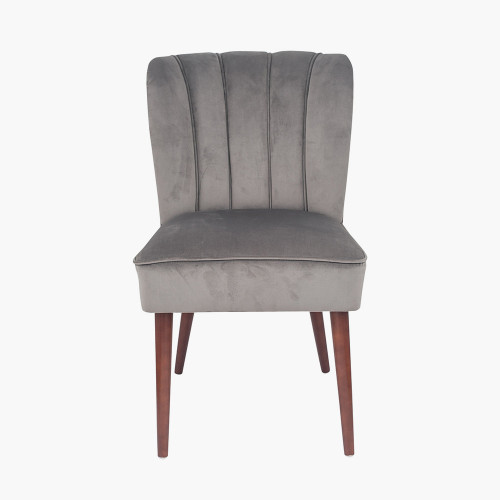 Dove Grey Velvet Dining Chair Walnut Effect Legs
