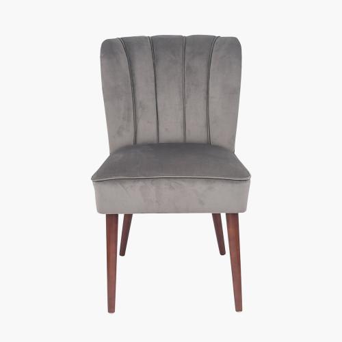 Dove Grey Velvet Dining Chair Walnut Effect Legs
