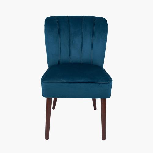 Sapphire Blue Dining Chair Walnut Effect Legs