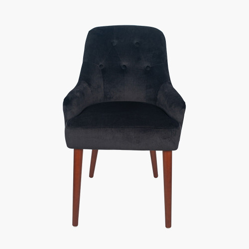 Black Velvet Dining Chair Walnut Effect Legs
