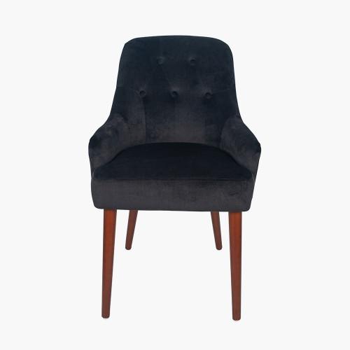 Black Velvet Dining Chair Walnut Effect Legs