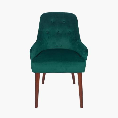 Forest Green Velvet Dining Chair Walnut