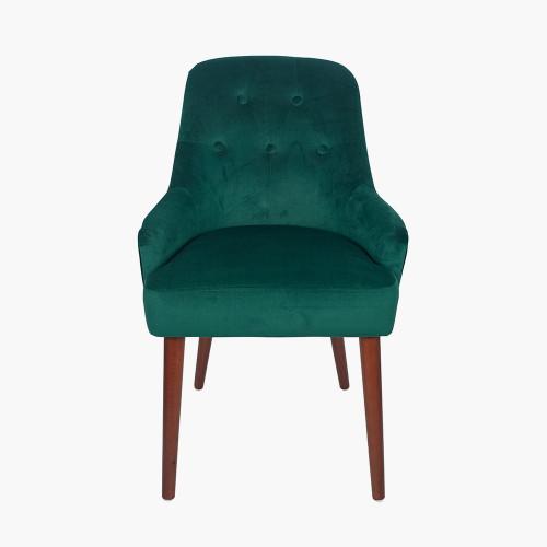 Forest Green Velvet Dining Chair Walnut