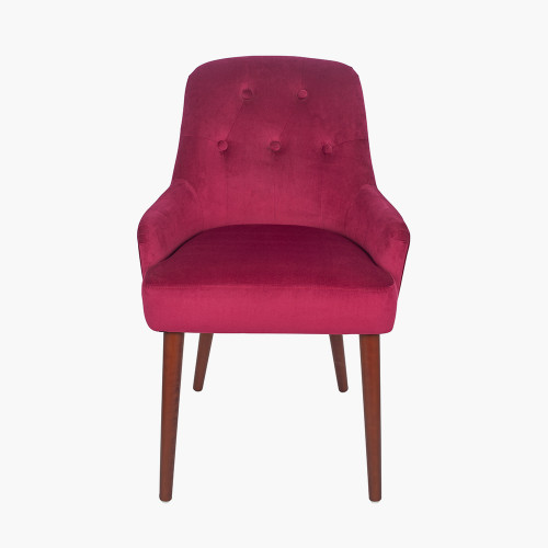 Raspberry Velvet Dining Chair Walnut Effect Legs