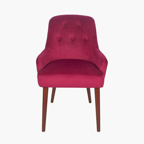 Raspberry Velvet Dining Chair Walnut Effect Legs
