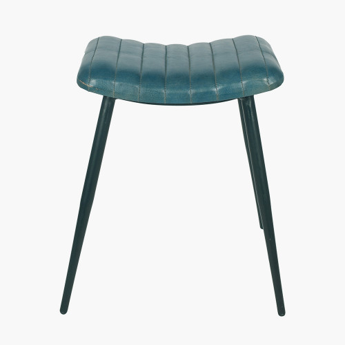Prussian Blue Leather and Iron Curved Stool