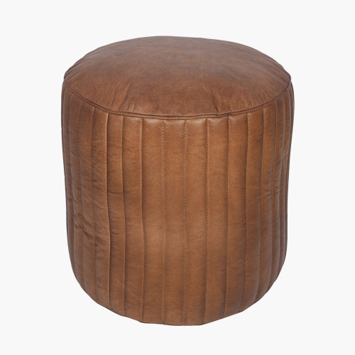 Natural Brown Leather Cylinder Pouffe