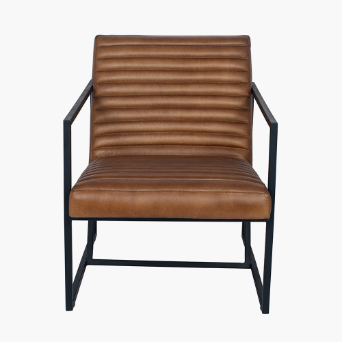 Natural Brown Leather and Iron Arm Chair