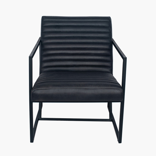 Steel Grey Leather and Iron Arm Chair