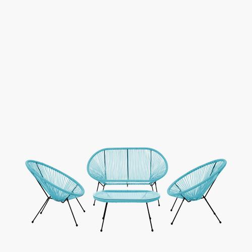 Blue PU Rio 4 Piece Seating Set