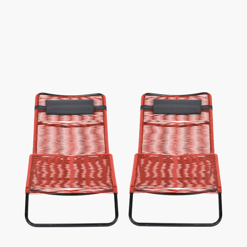 Red PU Rio Set of 2 Sun Loungers
