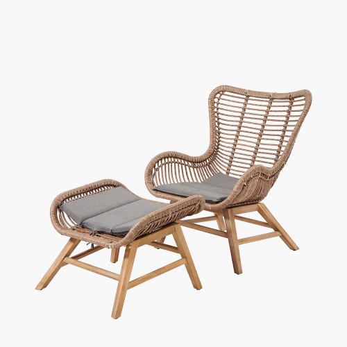 Aurora Chair & Hocker Set Natural