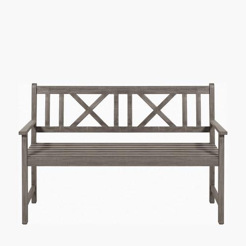 Cambridge Antique Grey 3 Seater Acacia Wood Bench
