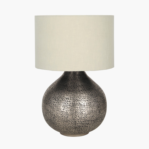 Antique Silver Hammered Metal Table Lamp