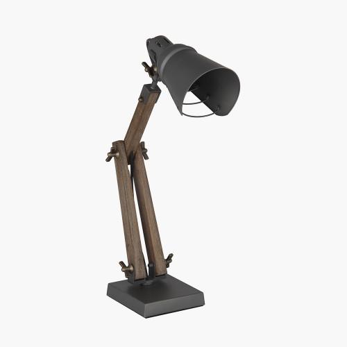 Wood and Grey Metal Table Task Lamp