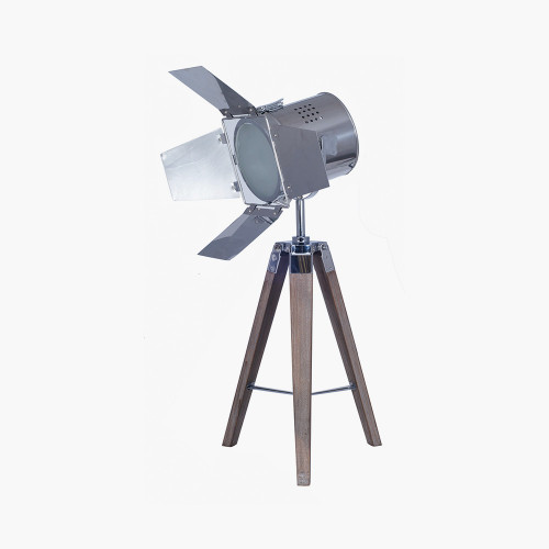 Grey Wood and Silver Metal Film Tripod Table Lamp