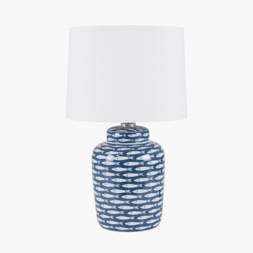 Blue and White Fish Detail Ceramic Table Lamp