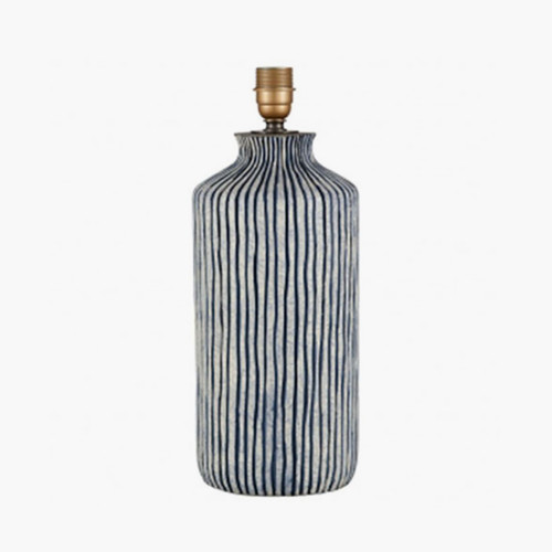 Blue and White Stripe Stoneware Table Lamp