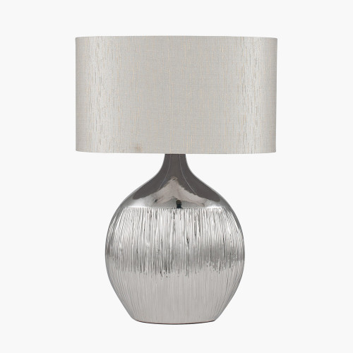 Silver Etched Ceramic Table Lamp